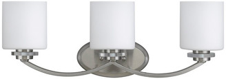 Chloé Lighting Prudence 3-Light Brushed Nickel Vanity Wall Fixture White Etched Glass