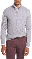 Brioni Quarter-Zip Wool Sweater, Gray