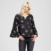 Mossimo Women's Printed V-Neck Bell Sleeve Top Black