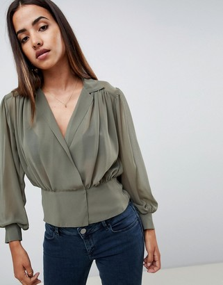 ASOS DESIGN long sleeve sheer waisted blouse with collar detail
