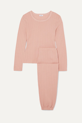 Leset Pointelle-knit Cotton-jersey Top And Pants Set - Pink