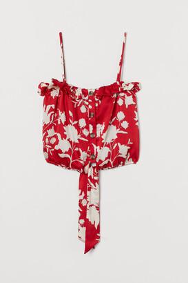 H&M Tie-hem satin blouse