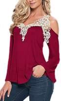 YACUN Women's Summer Lace Cold Shoulder Long Sleeve T-shirt 4XL