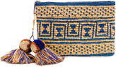 Yosuzi canvas woven pouch with pompom tassels