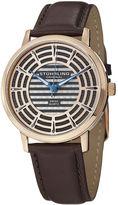 Stuhrling Original Sthrling Original Mens Rose-Tone Dial Brown Leather Strap Watch