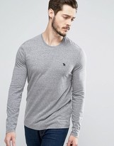 Abercrombie & Fitch Long Sleeve Top Muscle Slim Fit Moose Embroidery In Grey