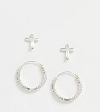 Kingsley Ryan exclusive earring multipack set in sterling silver two hoop and cross stud