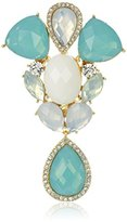 """Anne Klein St. Barths"""" Gold-Tone Green and Crystal Elevated Pin"""