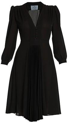 Prada Puff Sleeve Pleated A-Line Dress