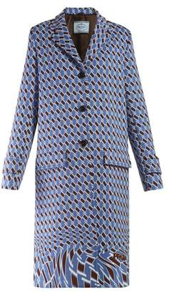 Prada Houndstooth-print Single-breasted Coat - Womens - Blue Print