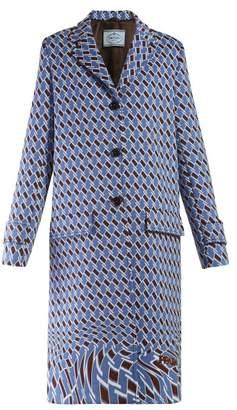 Prada Houndstooth Print Single Breasted Coat - Womens - Blue Print