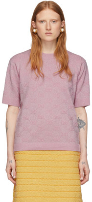 Gucci Pink Lurex Interlocking G Short Sleeve Sweater