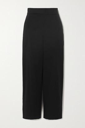 Akris Cropped Cotton And Silk-blend Poplin Wide-leg Pants - Black