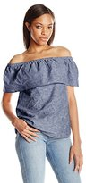 Kensie Women's Cross Dye Linen Blend Off Shoulder Top