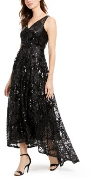 Calvin Klein Sequined High-Low Gown