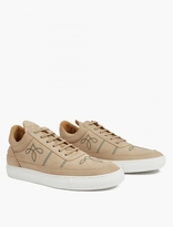 Filling Pieces Nude Embroidered Leather Hi-Top Sneakers