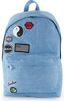 Topman Denim Backpack with Patches
