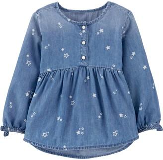 Osh Kosh Toddler Girl Star Denim Top