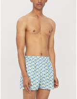 Sunspel Mens Light Blue Sun & Clouds Print Regular Fit Cotton Boxer Shorts