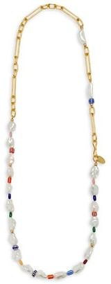 Lizzie Fortunato Daydream 18K Goldplated, 8MM Keshi Pearl, Coral & Multicolor Glass Bead Necklace