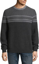 Claiborne Two Tone Stripe Crew Neck Long Sleeve Pullover Sweater