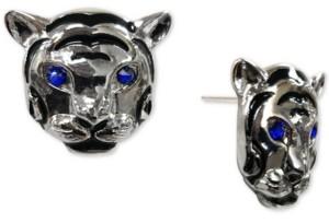 Thalia Sodi Silver-Tone Pave Tiger Head Stud Earrings, Created for Macy's