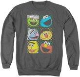 Sesame Street Classic Children's TV Show Group Squares Adult Crewneck Sweatshirt