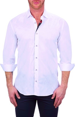 Maceoo Fibonacci Skull White Button-Up Shirt