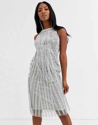A Star Is Born embellished fringe midi dress-Blue