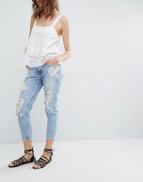 MANGO Rose Embroidered Jean