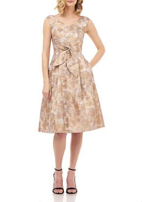 Kay Unger New York Chloe Sleeveless Birds of Paradise Jacquard Midi Dress