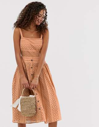 Asos Design DESIGN broderie midi sundress with button front-Brown