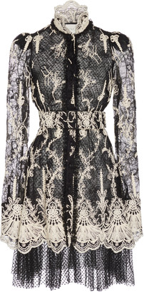 Alexis Hilaria Lace-Embroidered Tulle Mini Dress