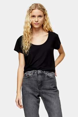 Topshop Womens Premium Black Scoop Neck Viscose T-Shirt - Black