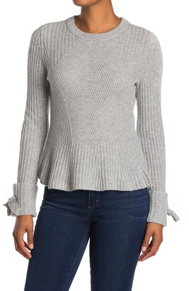 Design History Ribbed Tie Sleeve Peplum Cashmere Sweater