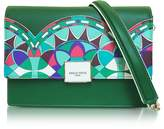 Emilio Pucci Emerald Green Optical Printed Leather Shoulder Bag