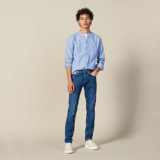Sandro Striped Shirt With Mandarin Collar