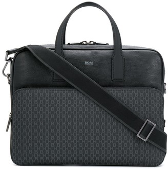 BOSS textured leather laptop bag
