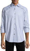 Bogosse Jacquard Long-Sleeve Sport Shirt, Gray
