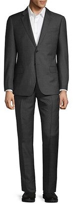 Armani Collezioni Classic-Fit Pindot Virgin-Wool Suit