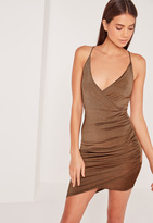 Missguided Petite Strappy Wrap Bodycon Dress Brown