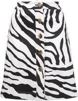 ADAM by Adam Lippes zebra print skirt - women - Cotton - 0