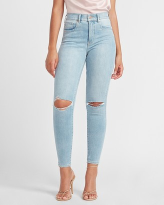 Express High Waisted Denim Perfect Ripped Skinny Jeans