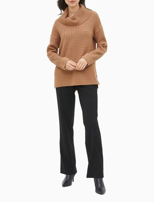 Calvin Klein Cowl Neck Mixed Ribbed Sweater