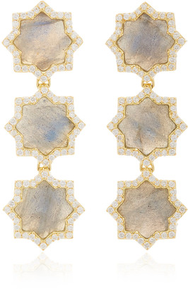 Amrapali Triple Star 18K Gold, Labradorite And Diamond Earrings