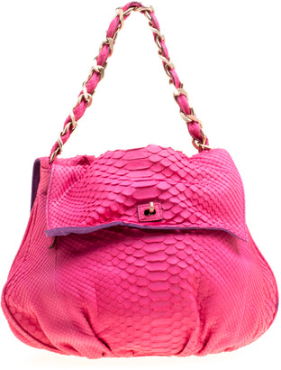 Zagliani Pink Python Chain Strap Hobo