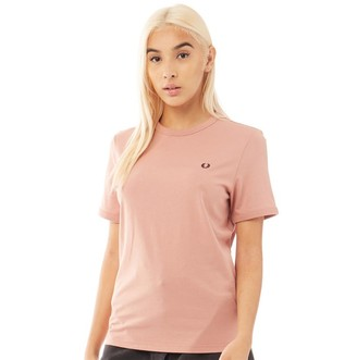 Fred Perry Womens Ringer T-Shirt Grey Pink