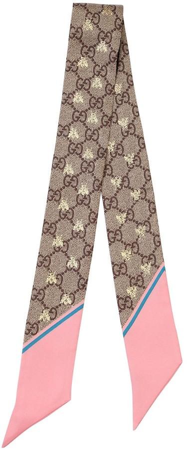 Gucci Gg Supreme Printed Silk Twill Scarf