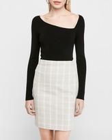 Express High Waisted Windowpane Pencil Skirt