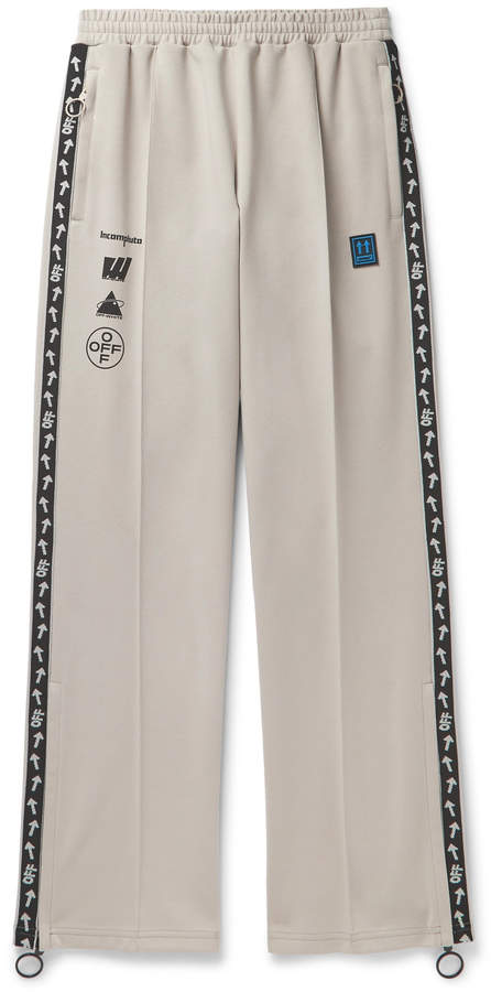 Off-White Off White Glittered Webbing-Trimmed Cotton-Blend Track Pants